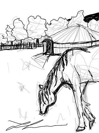 Mongolia sketch } ATC