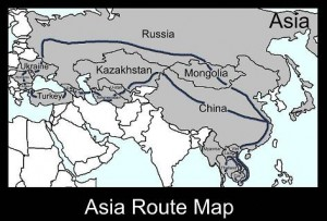 Asia Land Route Map