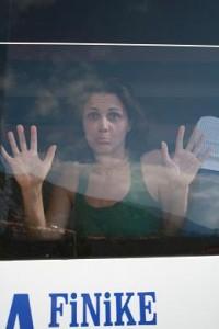 Lauren in a bus