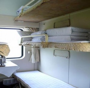 Slightly cleaner than average Chinese train sleeper car
