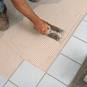 Spreading Tile Mortar
