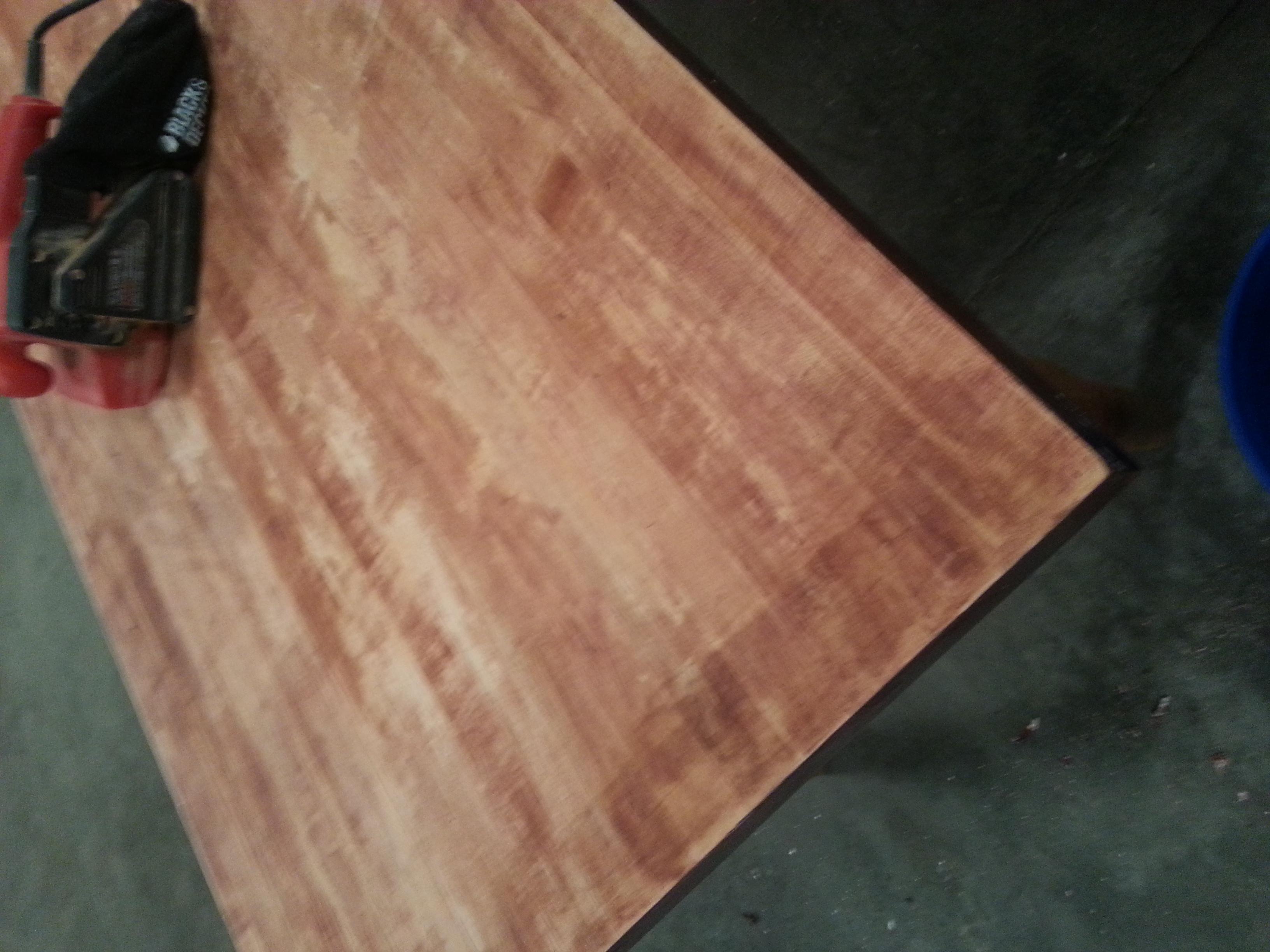 February 22 2017 Sanded Table Top Using Belt Sander Photo Above