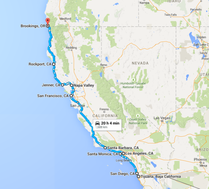 West Coast American Road Trip ATC - Us map best roadtrip map